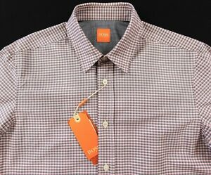 87312388 Men's HUGO BOSS ORANGE Orange Gray White Plaid Shirt XLarge XL NWT ...