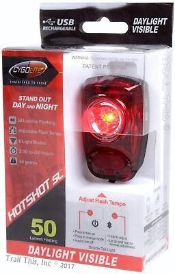Cygolite Hotshot 100 Lumen 6-Mode USB Rechargeable Red LED Bike Rear Tail Light