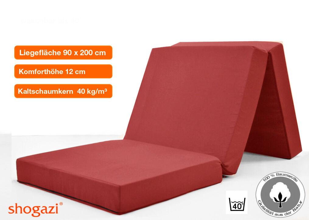 Klappmatratze TRAVEL   rot   90x200x12cm   perfekte Gästematratze    BESTSELLER