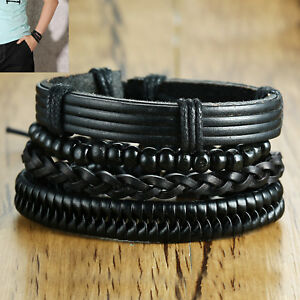 Fashion-Men-Punk-Cuff-Charm-Rope-Braided-Bracelet-Bangle-Wristband-Jewelry-Gift