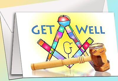 Art SQ /& Gavel Masonic Get Well 12 Note Cards w//envelopes NEW!