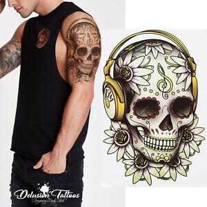 Sugar Skull Temporary Tattoo Candy Skull Headphones Flower Mens