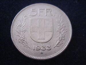Mds Schweiz 5 Franken 1933 B Confoederatio Helvetica Silber 17