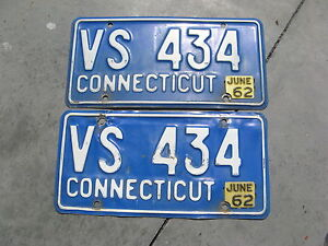 1962-62-CONNECTICUT-CT-LICENSE-PLATE-PAIR-NICE-BUY-NOW-ORIGINAL-VS-434