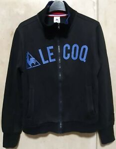 GUC LE COQ SPORTIF women's Paris logo zip-up sweater jacket in black szM