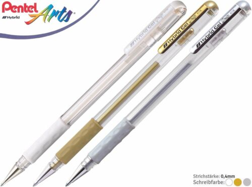 Gold /& Silber Pentel Hybrid Gel Grip Gelstifte Gelschreiber weihnachtlich Weiß