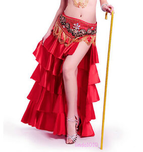 New-Professional-Belly-Dance-Costume-Waves-Skirt-Dress-with-slit-Skirt-9-colors