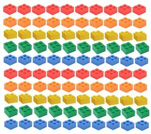 NEW-LEGO-2x2-Bricks-100-Count-5-Assorted-Colors-Blue-green-yellow-red-orange