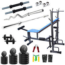 Fitfly Home Gym combo of 50 kg Weight 8 IN 1 Bench +3ft Curl Rod 5ft Plain Rod
