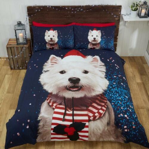 Noël Festif Westie Chien Housse de couette Parure de lit aux motifs imprimés avec taies