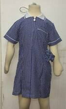 Girls School Pleated Summer Gingham Dress Age 3-20 Skyblue Navy Bottle Green Red