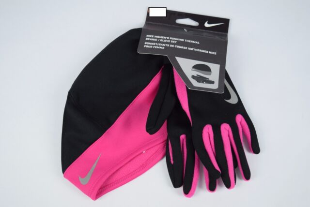 Nike Thermal Run Gloves Black//Pink Small Unisex Men/'s Women/'s Touch Screen