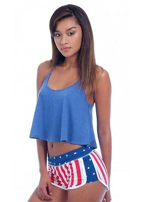 Sporty Short with U.S. Flag Print  French Terry Shorts American Flag Sexy 777USF