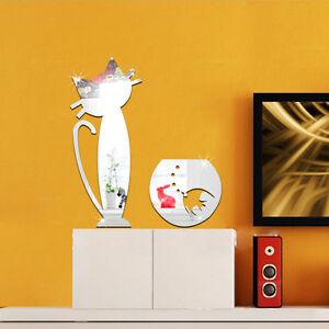 Katze-mit-Fisch-Spiegel-Glas-Kater-Deko-Goldspiegel-Kunststoff-PS-mit-Klebepunkt