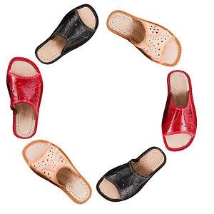 Women-039-s-Signore-Pantofole-Cuoio-Naturale-Dimensioni-UK-3-4-5-6-7-8-in-Color-Panna-Rosso-Nero
