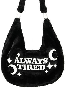 30c6805b6c5a Restyle Always Tired Crescent Moon Black Furry Gothic Punk Hobo Sack ...