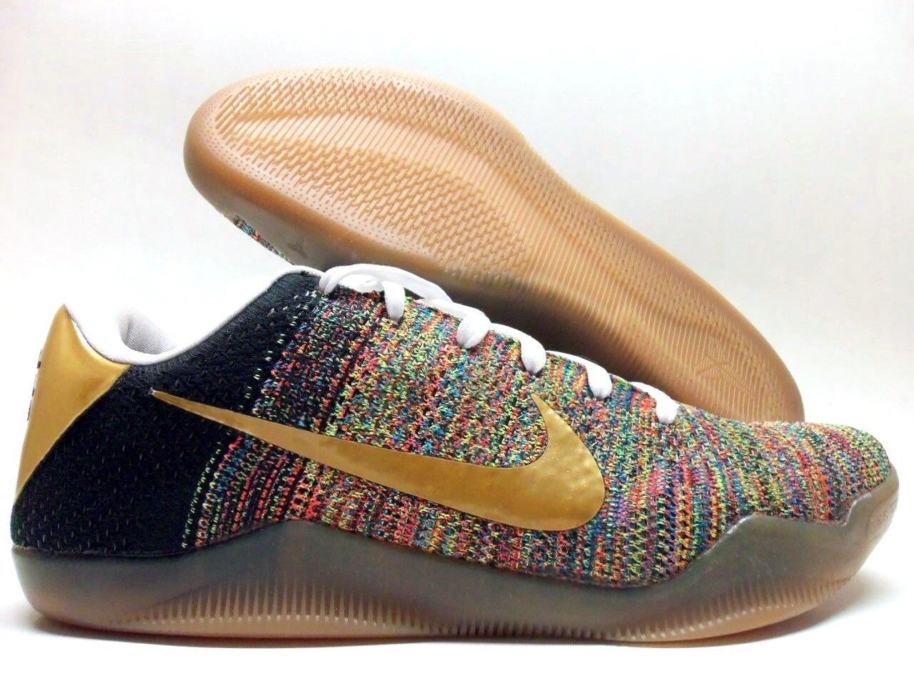Nike kobe xi 11 flyknit elite basso id multi-color-gold dimensioni uomini [903712-993]