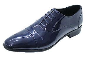 Scarpe uomo class eleganti blu lucido vernice nuove da cerimonia (40) Venta Escoger Un Mejor fL6P8TFRU