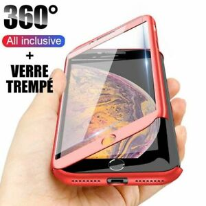 ETUI-iPhone-6s-7-8-11-Pro-Max-XR-X-Coque-Integrale-360-double-Verre-trempe-Film