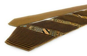 BRIONI-Pleated-Tie-Copper-Bronze-and-Black-with-Small-Patchwork-Quilt-Stripes
