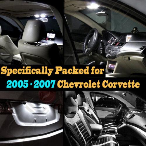 10Pcs Super White Car Interior LED Light Kit Pack for 2005-2007 Chevy Corvette