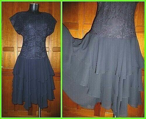 Vtg 80s Black Lace Chiffon Ruffle Evening Prom C… - image 1
