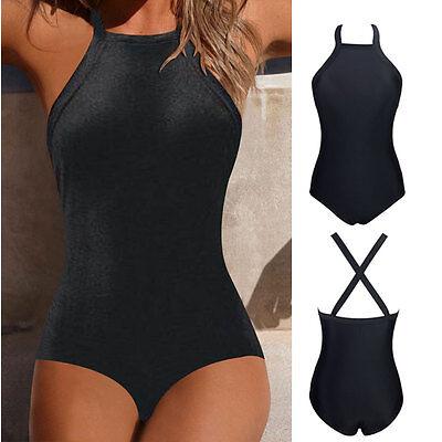 Women Swimsuit Backless Cross Strappy Halter One Piece Tankini Monokini Swimwear