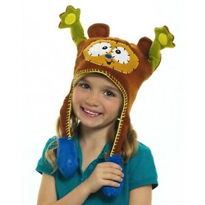 Children's Kid's Brown Monkey Button Nosed Furry Flip Up Fun Squeeze Me Beanie