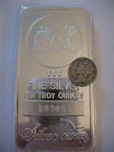 10 TROY OUNCE .999  PURE SILVER PROSPECTOR MULE SILVERTOWNE BAR  # NEW  + GOLD