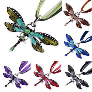 1-Stk-Libelle-Stil-Anhaenger-Halskette-Kristall-Charme-Accessoire-Nett-flYfE