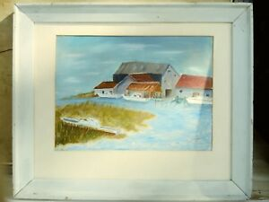 OLD American College style oil painting landscape Signature