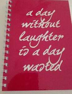 2018 - 2019 diary pink 'a day without laughter is a day wasted' quote A5