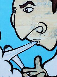 Art Imprime Poster Peinture Dessin Des Graffiti Guy Fumee Mixte Weed