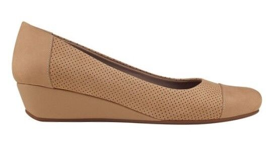 Easy Spirit Dalee wedge pumps natural tan leather breathable sz  9 WIDE New
