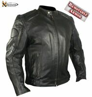 B7366 2xl Executioner Armored Black Premium Cowhide Leather Motorcycle Jacket