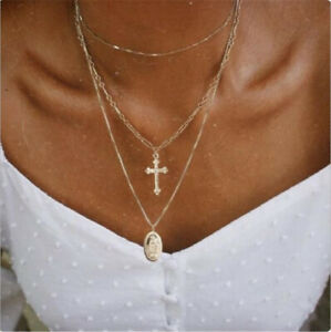 Multilayer-Gold-Plated-Catholic-Religious-Virgin-Mary-Cross-Pendant-Necklace-New