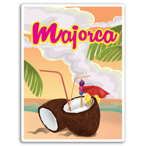 2 x 10cm Majorca Beach Holiday Vinyl Stickers Sticker Luggage Travel #19276