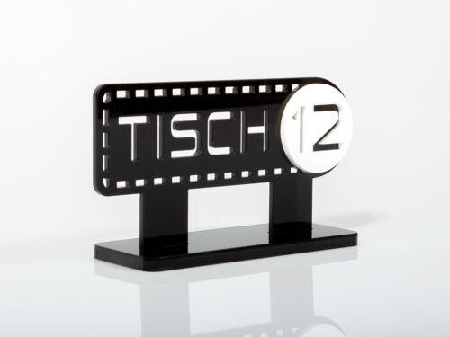 10 Tischaufsteller Tischschild Tischnummern MODERN Acrylglas 120 x 65 x 40 mm