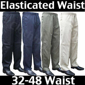 Mens-Elasticated-waist-smart-casual-Rugby-trousers