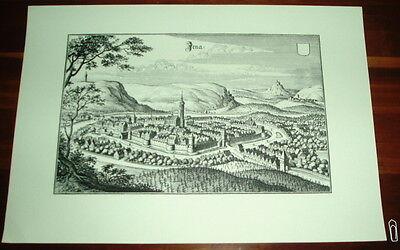 Weimar alte Ansicht Merian Druck Stich 1650 Städteansicht Thüringen schw