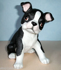 """Lenox Boston Terrier Puppy Dog Figurine Hand Painted White Porcelain 7.5"""" New"""
