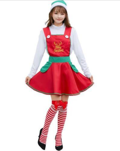 New Ladies Elf In Charge Costume Adults Christmas Santas Helper Fancy Dress Xmas