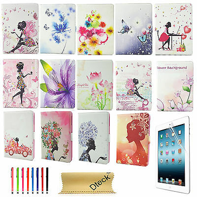 For iPad 2 3 4/Air 2/mini Folio Smart Case Flip PU Leather Stand Cover Butterfly