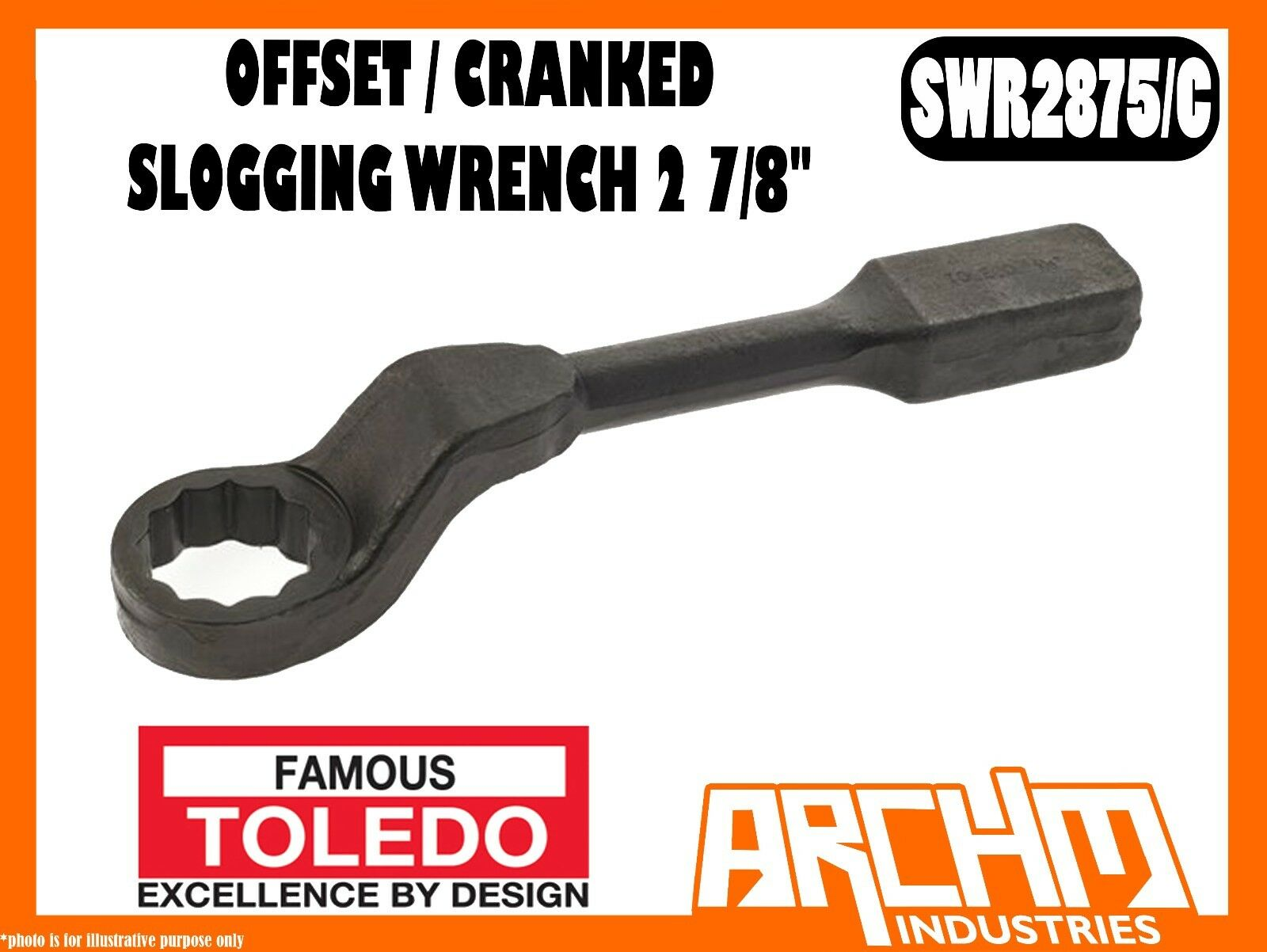 TOLEDO SWR2875 C - OFFSET   CRANKED SLOGGING WRENCH 2 7 8  - IMPERIAL