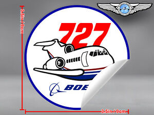 BOEING-727-B727-VINTAGE-PUDGY-STYLE-ROUND-DECAL-STICKER