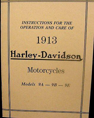 1913 Harley-davidson Motociclette Istruzioni Per Operation & Cura Mdls.9a-9b 9e Buono Per L'Energia E La Milza