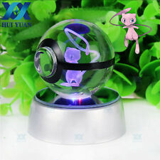 New Pokemon Mew 3D LED Colors Night Light 5CM Crystal Ball Table Desk Lamp Gift