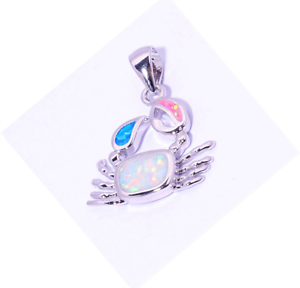 Woman Fashion 925 Silver Jewelry  Fire Opal Charm Pendant Necklace Chain