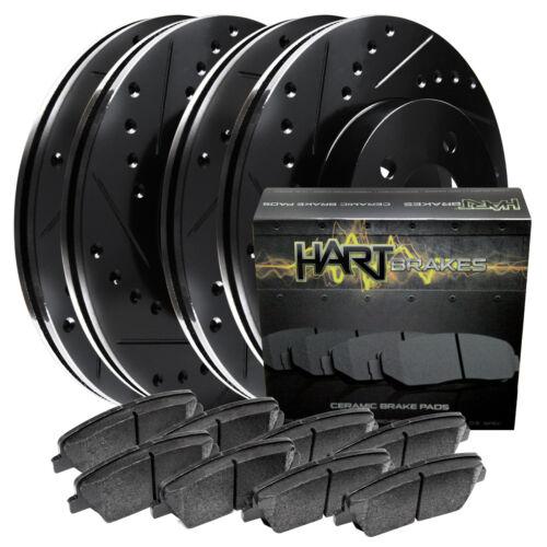 Ceramic Pads C2729 FRONT+REAR KIT Black Hart *DRILLED /& SLOTTED* Brake Rotors