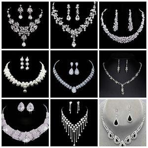 Image is loading Wedding-Bridal-Jewellery-Crystal-Rhinestone-Necklace- Earrings-Set- eafbbfbf57c0